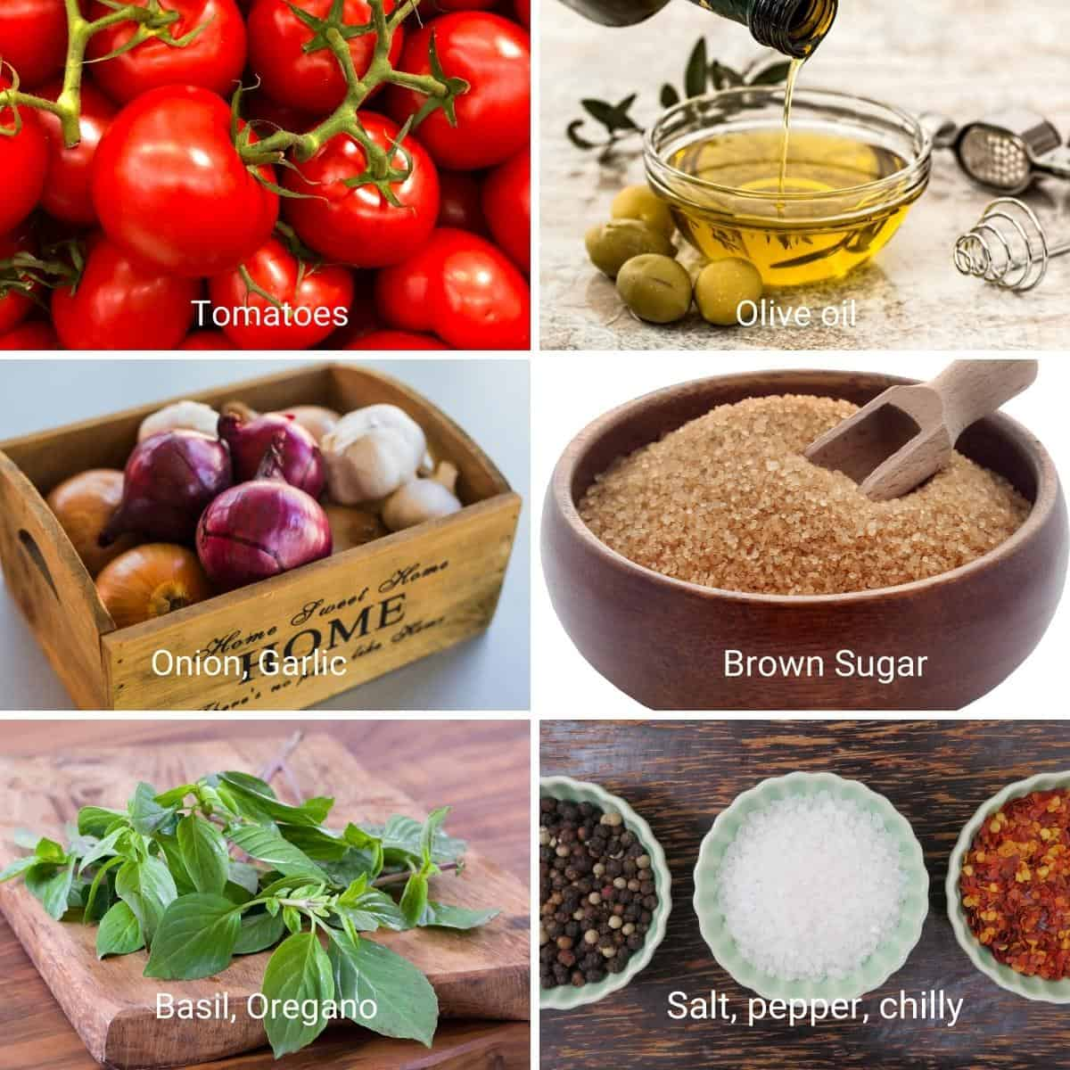 Ingredients for homemade marinara sauce with fresh tomatoes.
