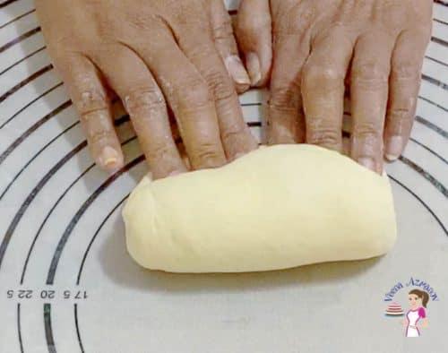 Shape the shokupan dough into a sausage