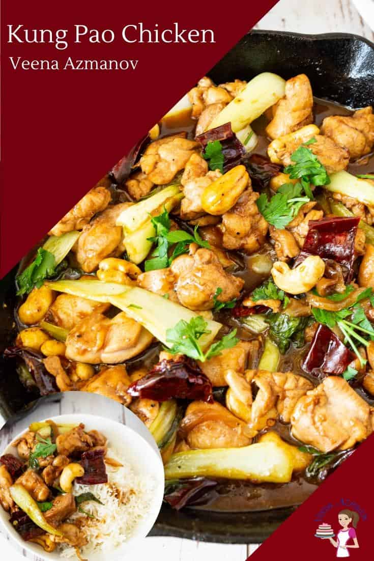 Kung Pao chicken is a famous Chinese take out made with chicken, peanuts, spicy red chillis, and a sweet kung pao sauce. This stir-fry comes together in less than 15 minutes and is better than any take out.  #chicken #kungpao #kungpaochicken #chinesetakeout #copycake #chickenstirfry #stirfrychicken #kungpaochickenrecipe  via @Veenaazmanov