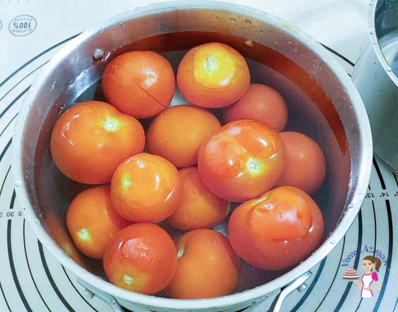 Boil tomatoes for 3 minutes