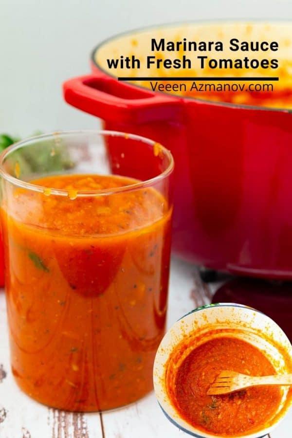 A glass of marinara sauce.