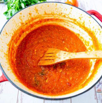 A pot of marinara sauce.