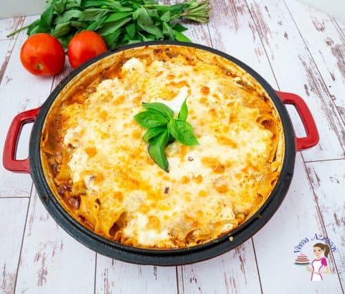 A skillet of lasagna.