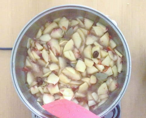 Add all the ingredients for the chutney in the pan along with the peaches