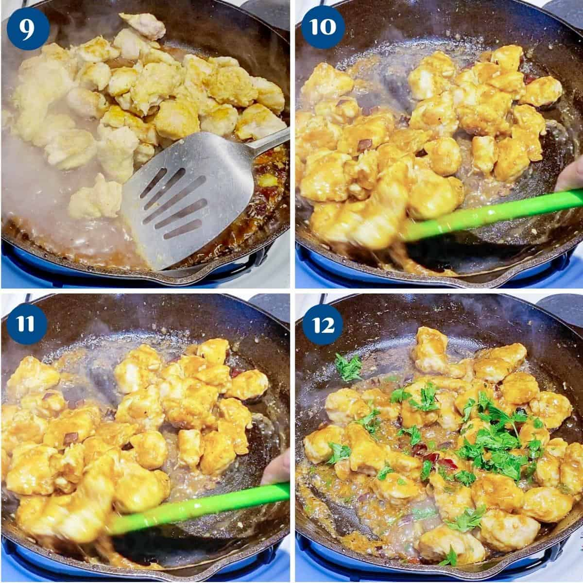 Progress pictures collage for healthy Tso's chicken.
