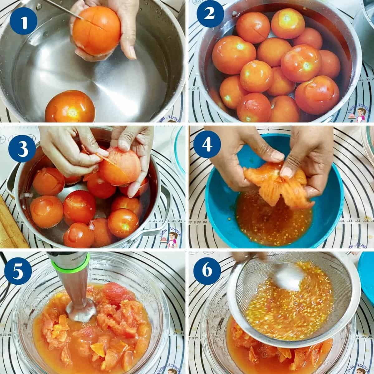 Progress pictures collage how to peel fresh tomatoes for marinara.