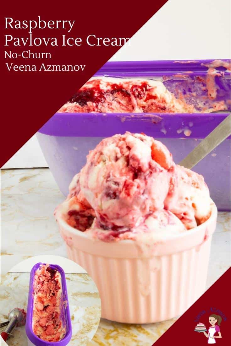 Raspberry ice cream in a small bowl with a spoon.
