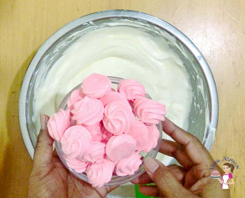 Add the meringue to the whipped cream mixture