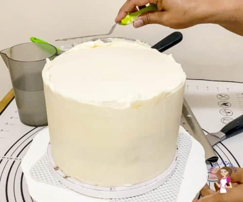 Smooth the top fo the cake with a off set spatula