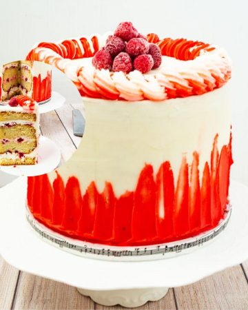 A raspberry white chocolate cake on a cake stand.