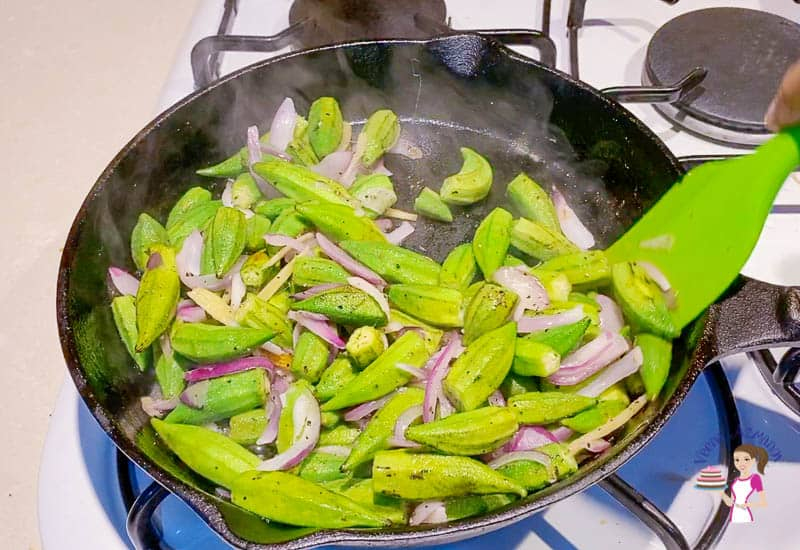 Add the okra with a little water
