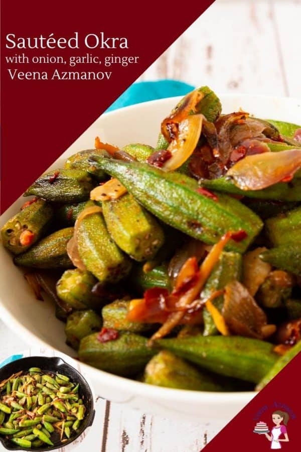 A bowl with sautéed okra.