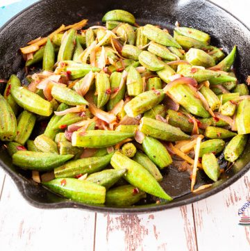 A skillet filled with okra.