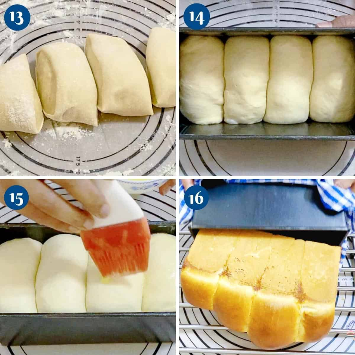 Progress pictures collage baking Shokupan sandwich bread.