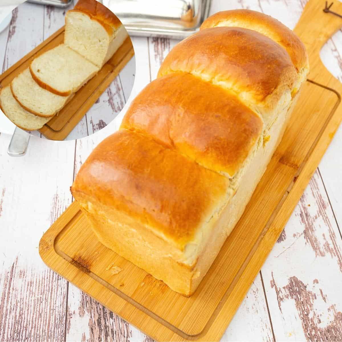 Softest sandwich bread on a wooden board.