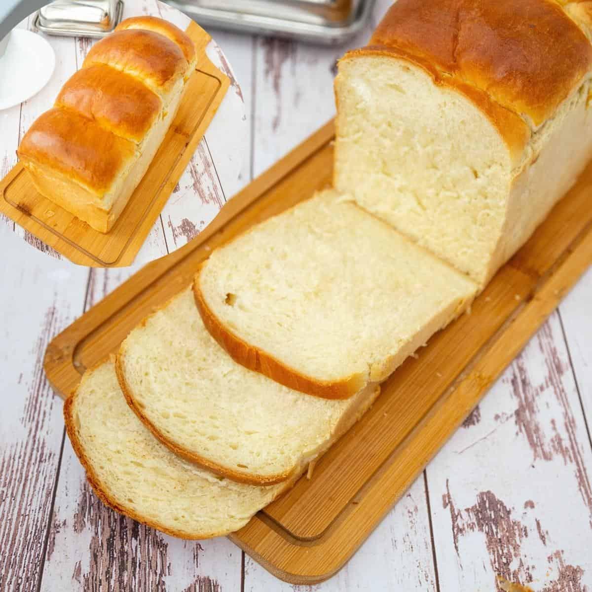 Japanese sandwich bread on a wooden board.