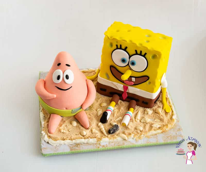 How to decorate a birthday cake at home. Spongebob square pants and Patrick Star