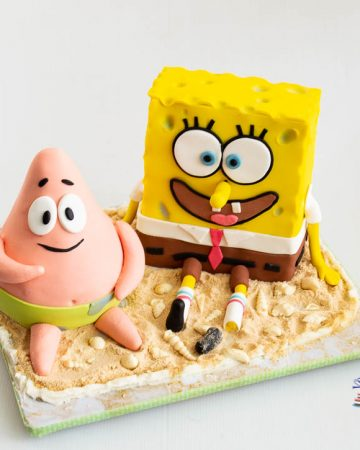 A SpongeBob and Patrick Star cake.