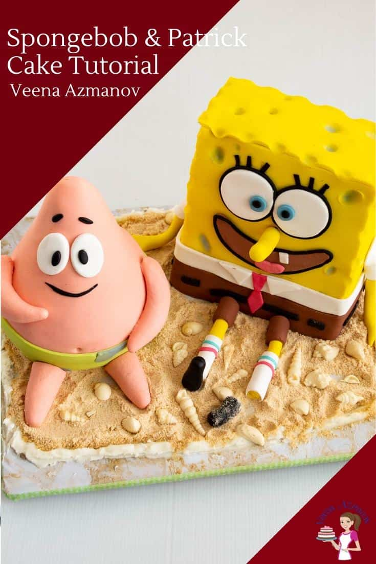A cake decorating tutorial for SpongeBob Square Pants and Patrick Star. Made with fondant. Perfect birthday cake for kids. This cake tutorial is a novelty cake - with recipes included  via @Veenaazmanov