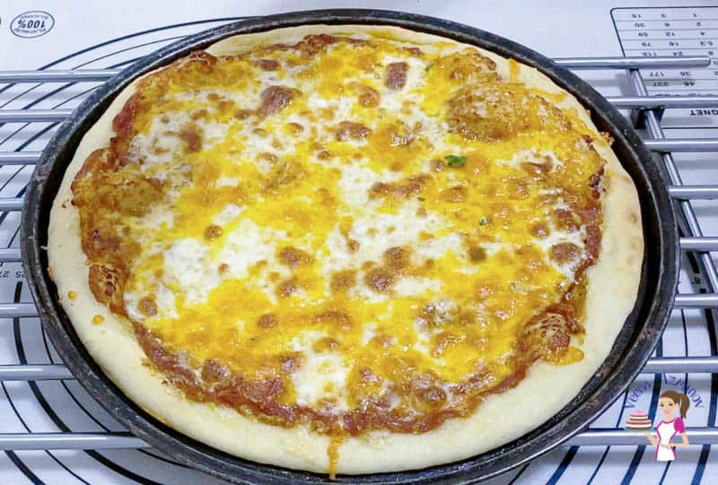 Bake the pizza for 12 minutes