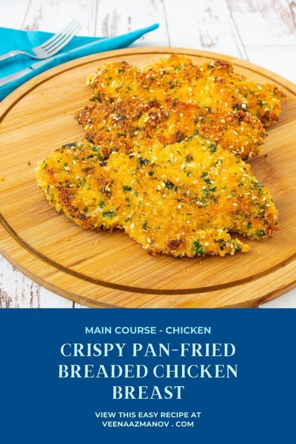 Pinterest image for pan fried chicken breast.