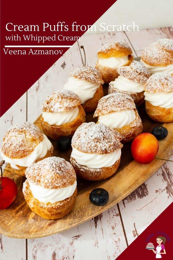 Cream puffs are a great way to make impressive desserts to wow your guests. Using homemade choux pastry from scratch these are filled with whipped cream for a quick and easy treat. #chouxpastry #creampuffs #pastry #chouxpastrydough #creampuffsrecipe #whippedcream #baking #dessert #chouxalacreme via @Veenaazmanov