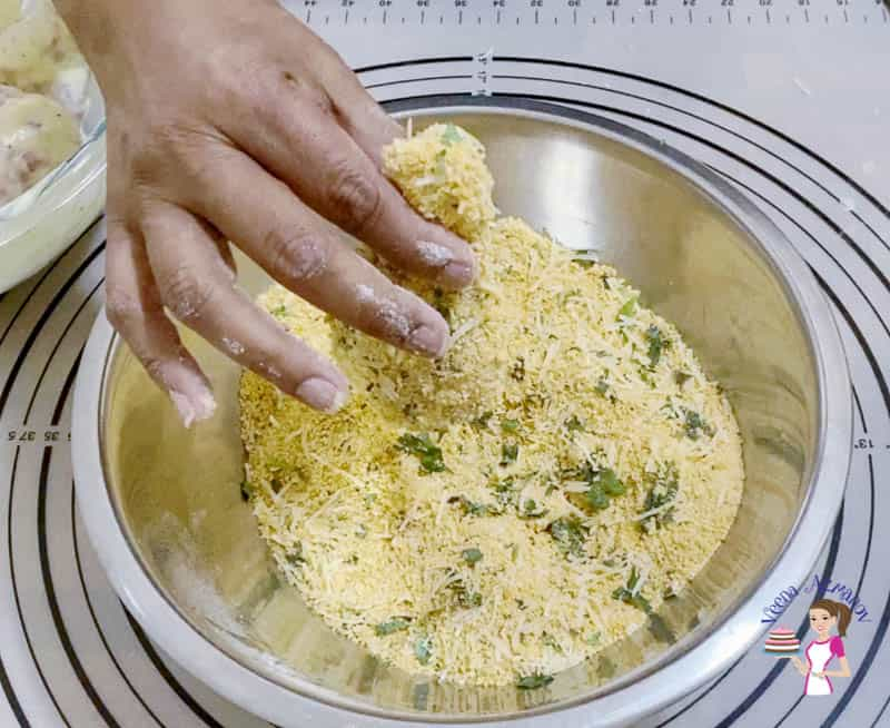 Prepare the breadcrumb parmesan coating for the chicken