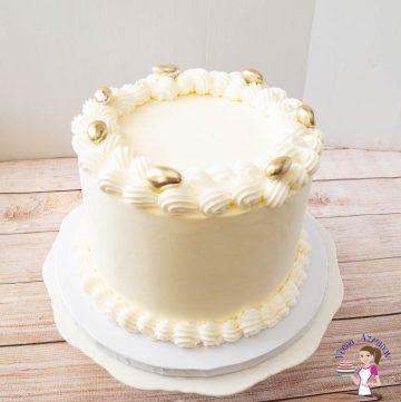 A white wedding cake.