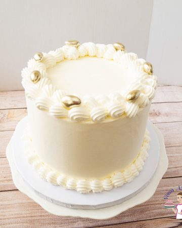 A white wedding cake.