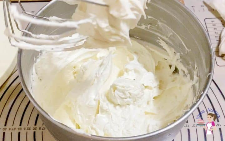 Once all the roux is in whip the buttercream for 2 minutes