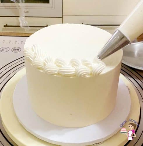 Frost the cake with the Ermine buttercream frosting