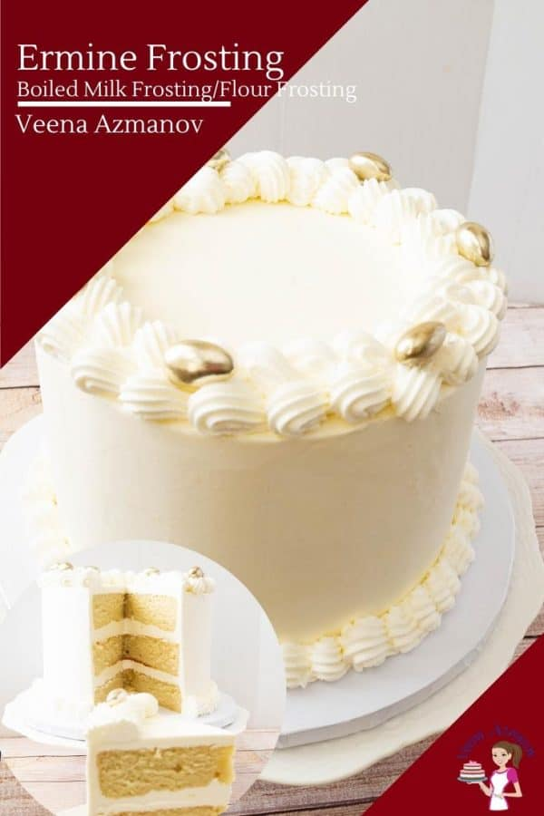 A white wedding cake on a cake stand.
