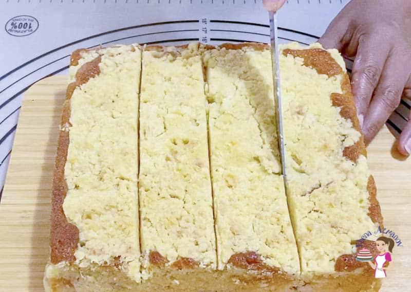 Cut the peach cake into 16 squares