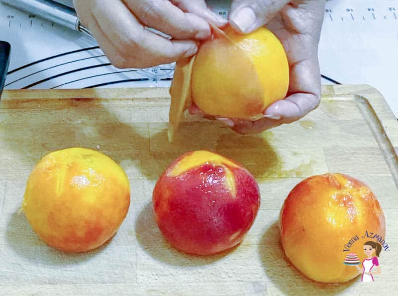 Cut the peaches for the peach cake