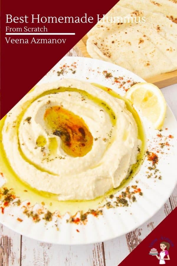 A plate of hummus on a table.