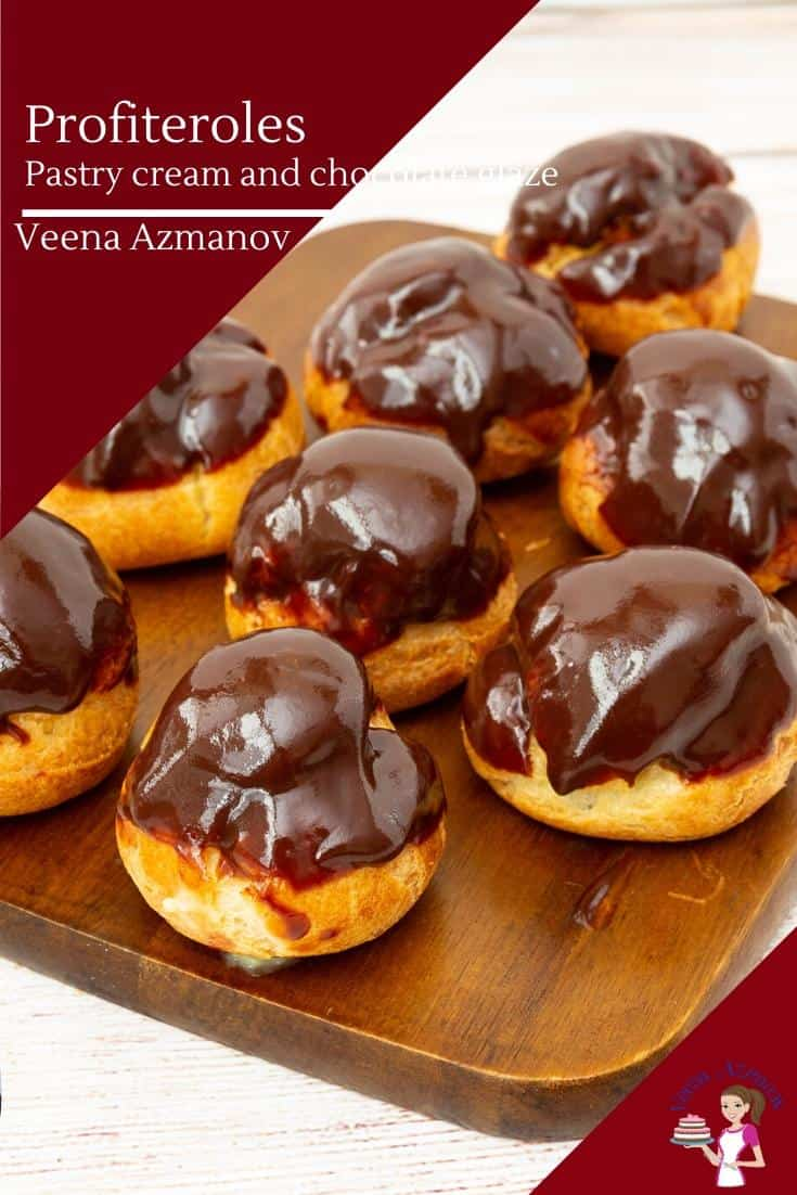 How to make classic French Choux Pastry profiteroles filled with pastry cream and chocolate glaze