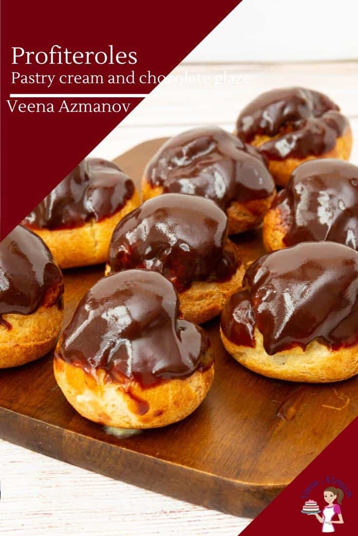 These classic French dessert profiteroles are made with choux pastry that are light as air and filled with vanilla pastry cream and finished with a chocolate glaze #profiteroles #chouxpastry #pastry #dessert #frenchpastry #profiteroleswithpastrycream #pastrycream #chocolateprofiteroles via @Veenaazmanov