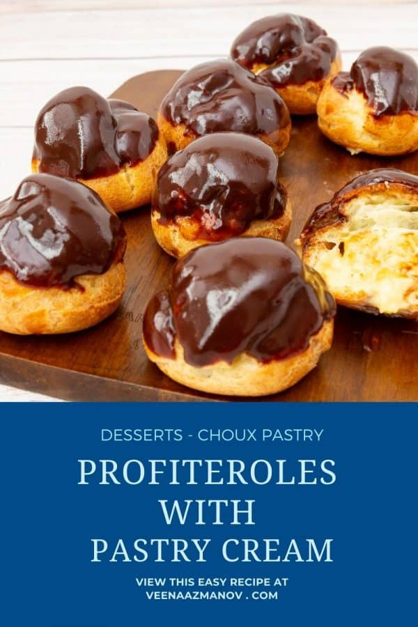 Pinterest image for profiteroles with pastry cream.