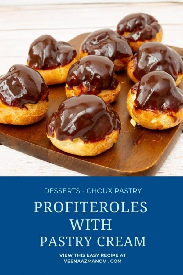 Pinterest image Profiterole filled with pastry cream.