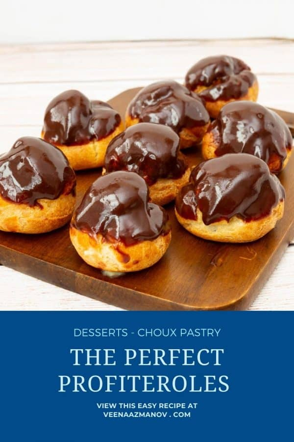 Pinterest image for profiterole with pastry cream.