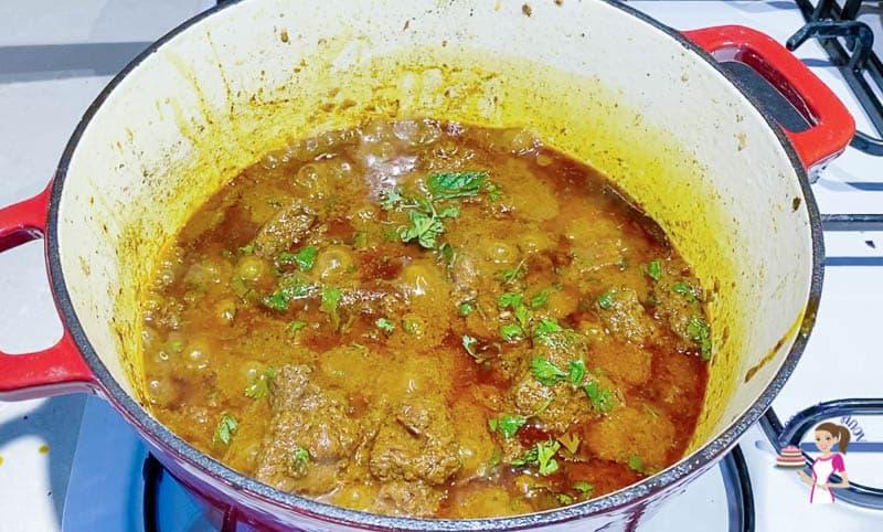 A pot of lamb curry.