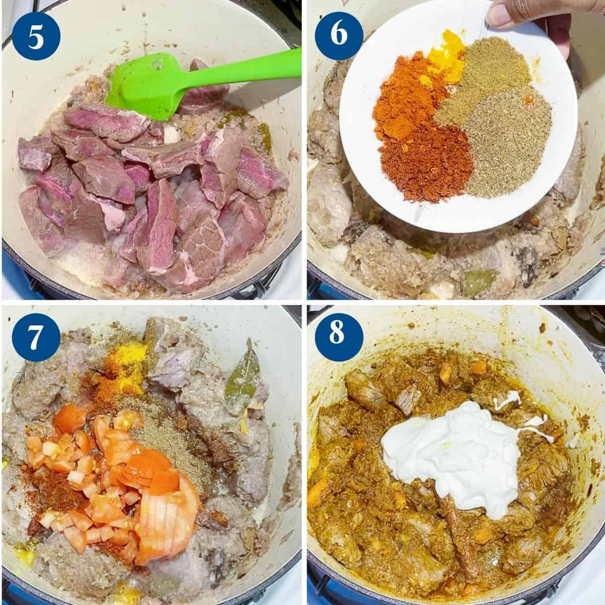 Progress pictures collage making lamb curry.