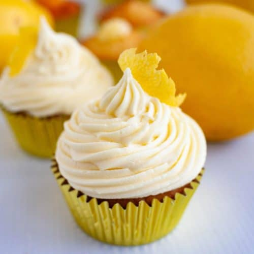 A frosted lemon cupcake.