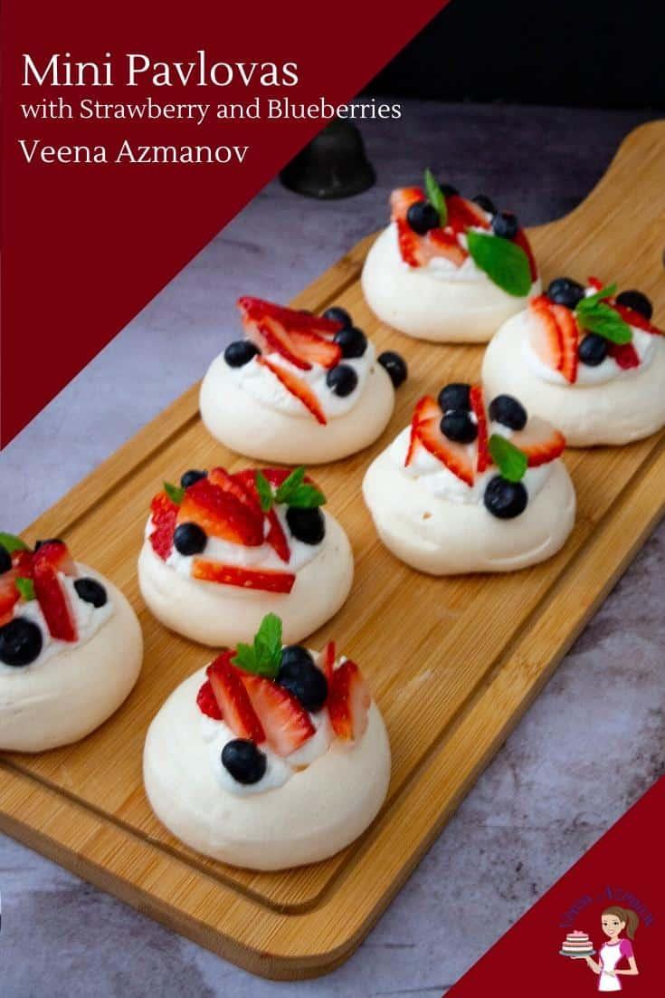 Let your next celebration dessert be these individual mini pavlovas. Crisp meringue shells topped with whipped cream and fresh fruits. Today, I am using strawberries and blueberries. #pavlovas #mini #minipavlovas #strawberries #dessert #blueberries #meringue #pav #glutenfree #eggwhites #baking via @Veenaazmanov