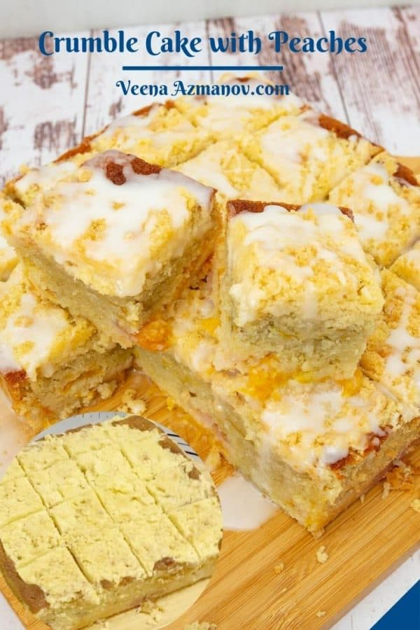 Pinterest image for coffee cake with crumble peaches and glaze.