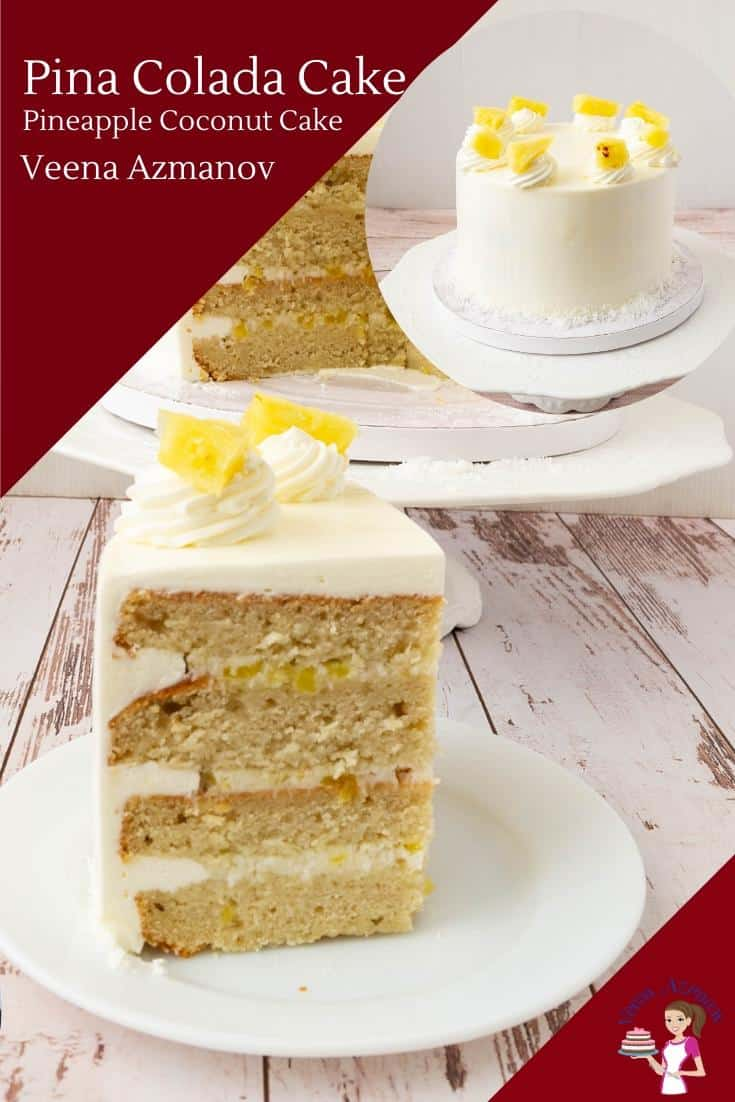 A slice of pineapple and coconut cake on a plate.