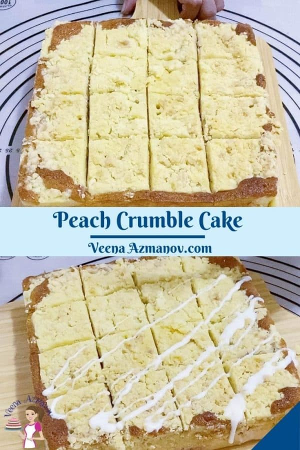 Pinterest image for cake with peaches.