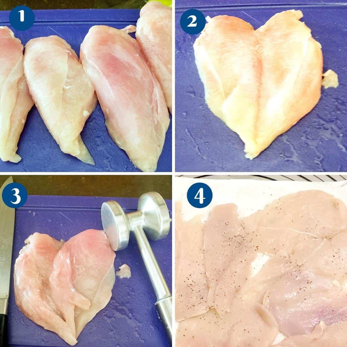 Progress pictures preparing the chicken breast.