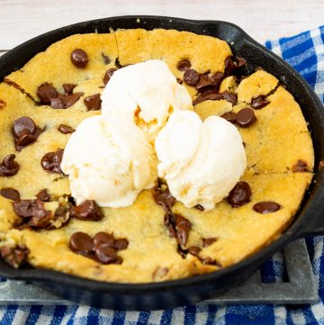 Homemade Giant Pizza Cookie in a skillet with Chocolate Chips