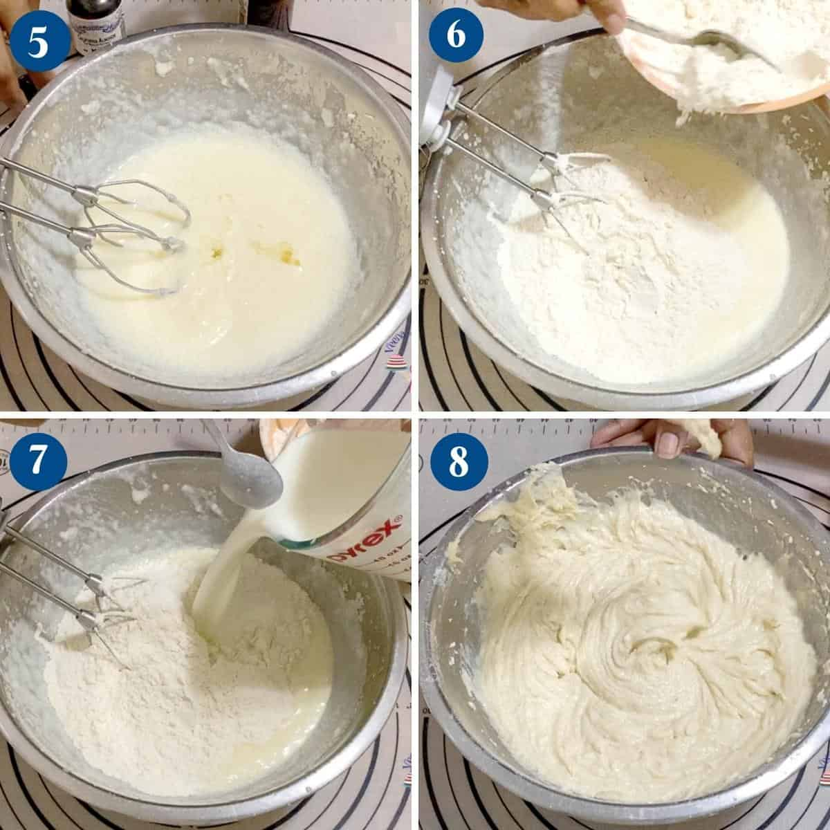 Progress pictures collage for white vanilla cake.